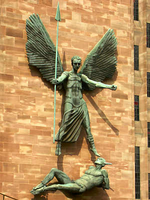 Bronze group of St Michael and the Devil